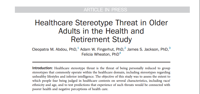 Warning: Stereotyping Can Harm Patients'Health