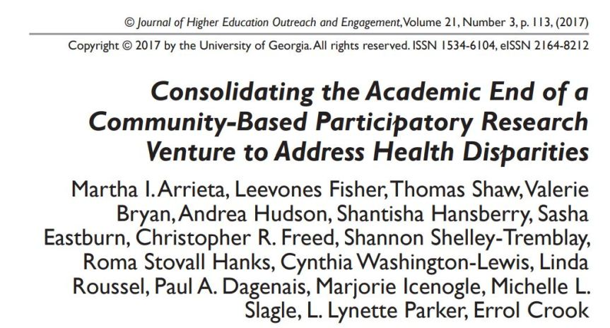 New Publication: Consolidating the Academic End of a Community-Based Participatory Research Venture to Address Health Disparities